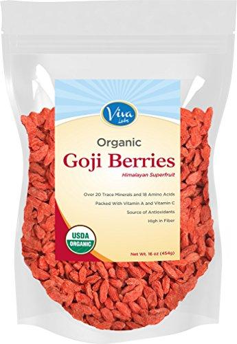 Viva laboratorios #1 Premium del Himalaya bayas Goji orgánico, notablemente más grandes y Juicier, 1lb bolsa