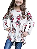 KunLunMen Girls Clothes Fall T Shirts Casual Floral Tops Long Sleeve Swing Blouses 11-12 Years