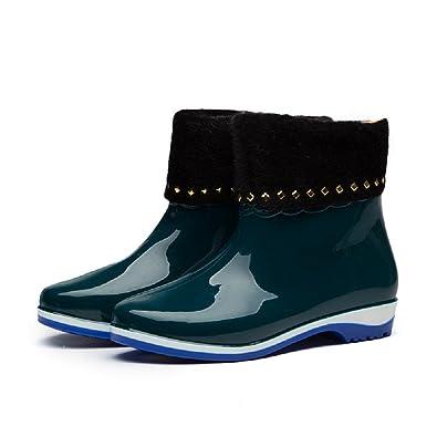 Mode rutschfeste Damen regen Stiefel , blue , 39