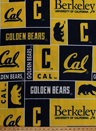 College Cal University at CaliforniaTM BerkeleyTM Golden BearsTM College Fleece Fabric Print By the Yard