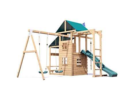Kids Wooden Garden Climbing Frame Pressure Treated Playhouse Wave ...