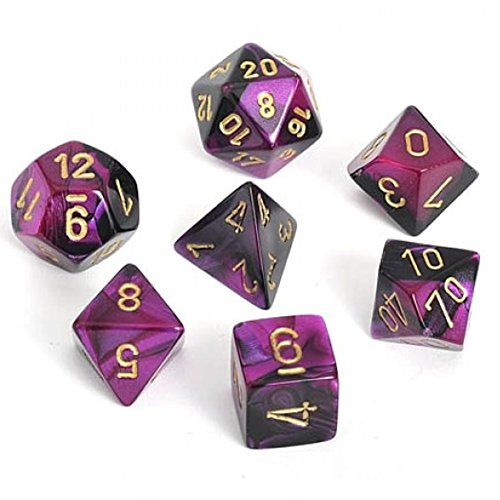 - Chessex Gemini Black And Purple With Gold Polyhedral Dice Set