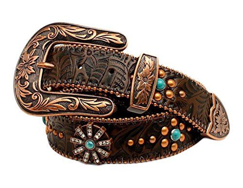 Nocona Concho (Nocona Women's Floral Embossed Spiral Rowel Concho Belt Copper)