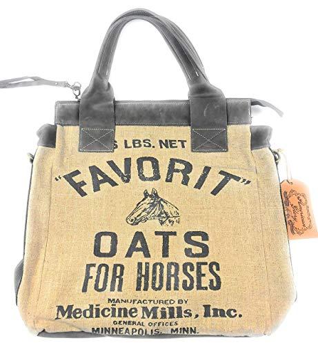 American Glory Favorit Oats Convertible-crossbody/handbag-Vintage burlap sack design Linen & Leather bag