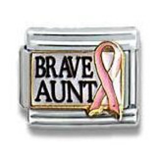 SEXY SPARKLES Brave Aunt with Pink Ribbon Italian Link Bracelet Charm