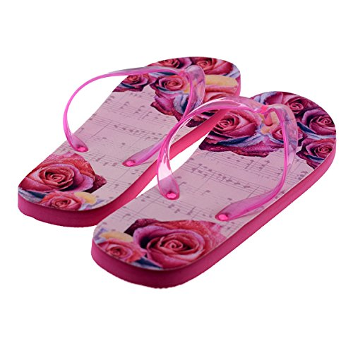 amp; Notes Design 41 Shoe 8 37 Flowers Flops Roses Music Euro 4 XFFS063 Flip Floral Novelty Ladies UK aIwExqfB