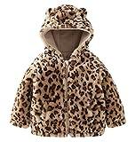 Carkoo Baby Girl's Leopard Zipper Winter Cotton Coat Outerwear(90cm,Leopard)