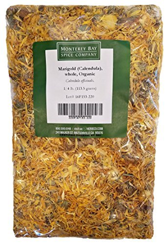 ORGANIC WHOLE CALENDULA FLOWERS 4 OZ Bag (Marigold) - USDA CERTIFIED 100% ORGANIC and KOSHER - Herbal Tea (Calendula Officinalis), Caffeine Free Irradiation Free Bulk Bag