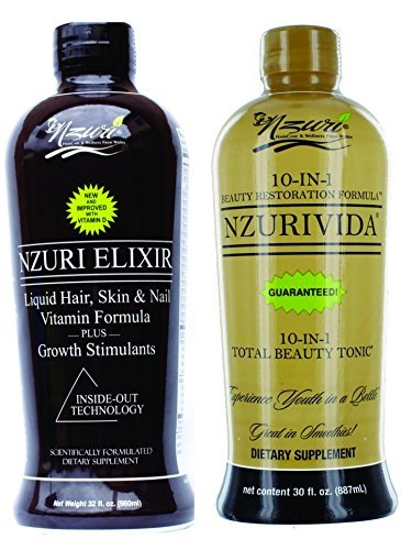 Nzuri Elixir Liquid Hair Vitamins Hair Regrowth 32 Oz Bottle + Nzuri Vida Energy and Stress Tonic 30 Oz Bottle - The Perfect Duo by (Elixir Liquid Vitamins)