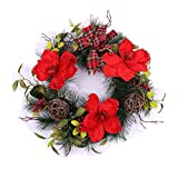 Cute Unlit Christmas Wreath 20″ w/ Artificial Red Flowers Ribbon Bow Berries Floral Holiday Fall Winter Festival Decorative Ornament Front Door Fireplace Wall Home Decor Indoor
