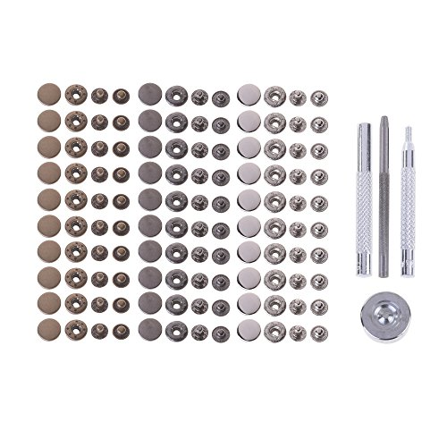 BCP 30 sets Metal No Sewing Studs Snap Fasteners Buttons with Fixing Tools for Fabric, Leather Craft, 12.5mm