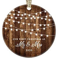 """First Christmas as Mr & Mrs Ornament 2020 Rustic 1st Year Married Newlyweds 3"""" Flat Circle Porcelain Ceramic Ornament w Glossy Glaze, Gold Ribbon & Free Gift Box   OR00300 Delfino"""