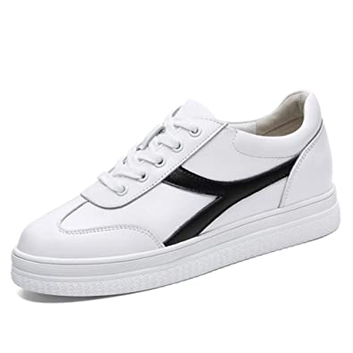 7a95d5b34dab99 Exing Femmes Chaussures en Cuir Printemps Automne Confort Baskets,  Augmentation Invisible Chaussures Dames, Talon Plat Bout Rond Chaussures de  Sport ...