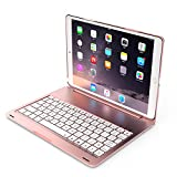 Backlit keyboard Case For iPad Pro 10.5, TechCode 7 Color Folio Backlit Light Colorful bluetooth Keyboard Case With Executive Multi Function Case for iPad Pro 10.5 Inch (iPad Pro 10.5, Rose Gold)