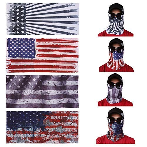 Yerwal 9pcs Windproof Seamless Skull Face Mask Bandana for Riding Cycling Motorcycle Cold Weather Multifunctional Headwear Tube Mask Bandana Magic Headbands Outdoor UV Dustproof (4 Pcs American Flag) ()