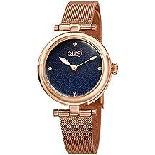 Burgi Designer Women's Watch – Rose Gold Tone Stainless Steel Mesh Strap – Swarovski Crystal Markers, Blue Glitter Dial - Bracelet Band - BUR231RGBU