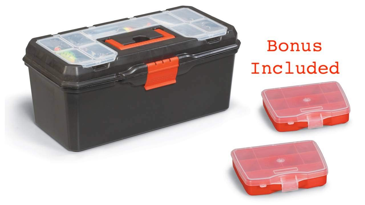 Tool Box   Organizer and Storage For Tools, Fishing Tackle, Toys, Lego, Art, Craft, and Parts 16'' x 7'' x 8''   Bonus Included Two Small Parts Boxes