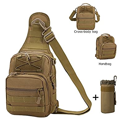 Fitmall Tactical Bags with Molle Water Bottle Pouch Cross-body Bags Chest Bag Daypack for Camping Hiking Trekking