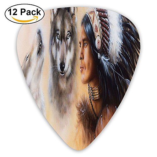 - Newfood Ss Blur Mystic Painting Of Young Indian Man In Ethnic Feather With Wolves Ancient Guitar Picks 12/Pack Set