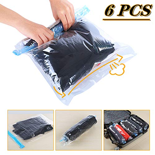 Travel Space Saver Bags Vacuum Travel Storage Bags Reusable Packing Sacks (6 Pack), No Vacuum Pump Needed, Save 80% Luggage Space, Double Zipper, Perfect for Travel/Home Storage