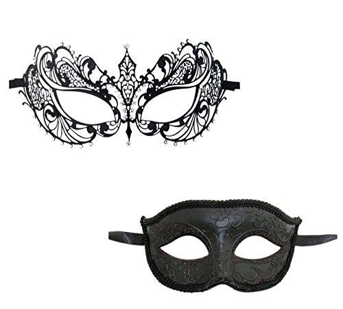 Masquerade Couples Mask (Luxury Mask Couple's Venetian Masquerade Mask Set, MA001 Black, One)