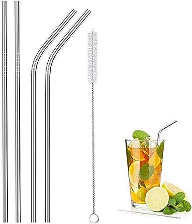 5er Set Edelstahl Trinkhalme Wiederverwendbar Strohhalm mit Reinigungsbürste