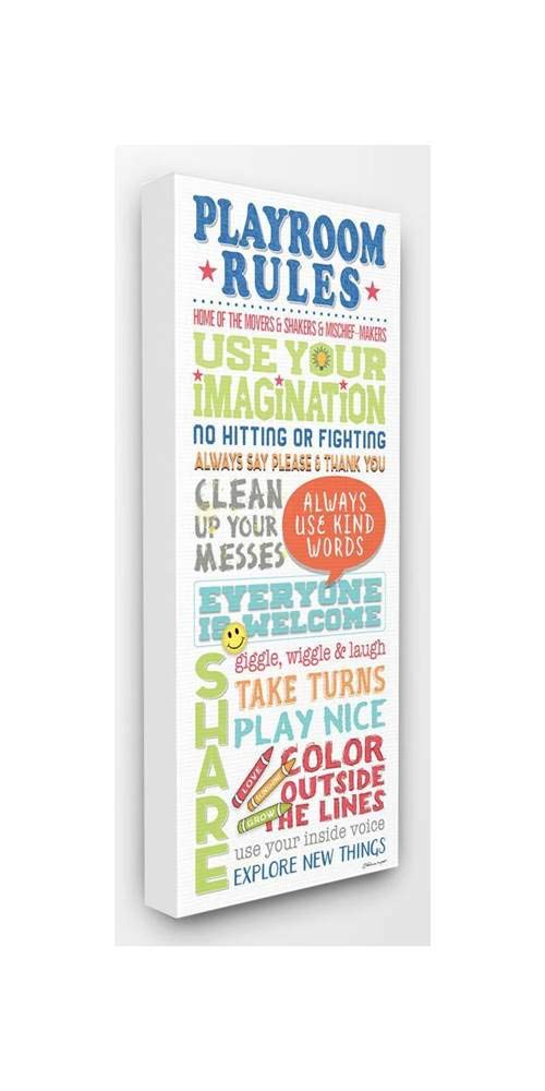 The Kids Room by Stupell Playroom Rules Colorful Typography White Blue Green and Red Stretched Canvas Wall Art, 13x30, Gray Framed Giclee by The Kids Room by Stupell
