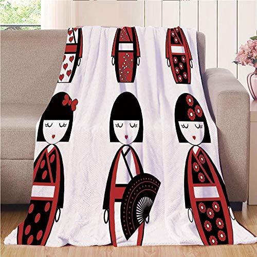 Blanket Comfort Warmth Soft Cozy Air Conditioning Fleece Blanket Perfect for Couch Sofa Or Bed,Girls,Unique Asian Geisha Dolls in Folkloric Costumes Outfits Hair Sticks Kimono Art Image,Black -