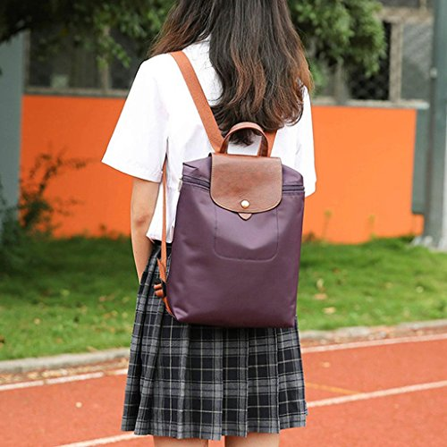 Folding Mini Fashion Nylon Inkach Purse Rucksack Shoulder Bags Backpack School Purple Travel Womens qAwwgCr8
