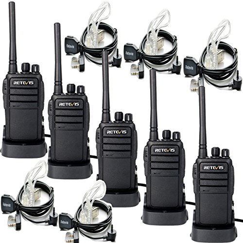 Retevis RT21 Two Way Radio Rechargeable 16 CH UHF 400 480MHz VOX Scrambler Walkie Talkies (5 Pack) and 2 Pin Covert Air Acoustic Earpiece (5 Pack)