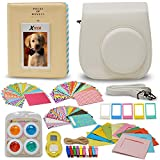 Xtech FujiFilm Instax Mini 9/8 WHITE Accessories Kit with White Camera Case with Strap + Photo Album + Colorful Frames + Sticker Frames + Large Selfie Mirror + 4 Colorful Filters + String + MORE