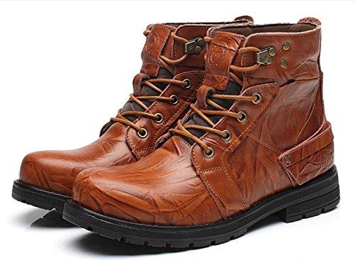 LINYI Männer Echtes Leder Britische Vintage Martin Stiefel Klettern Sport Büro Karriere brown