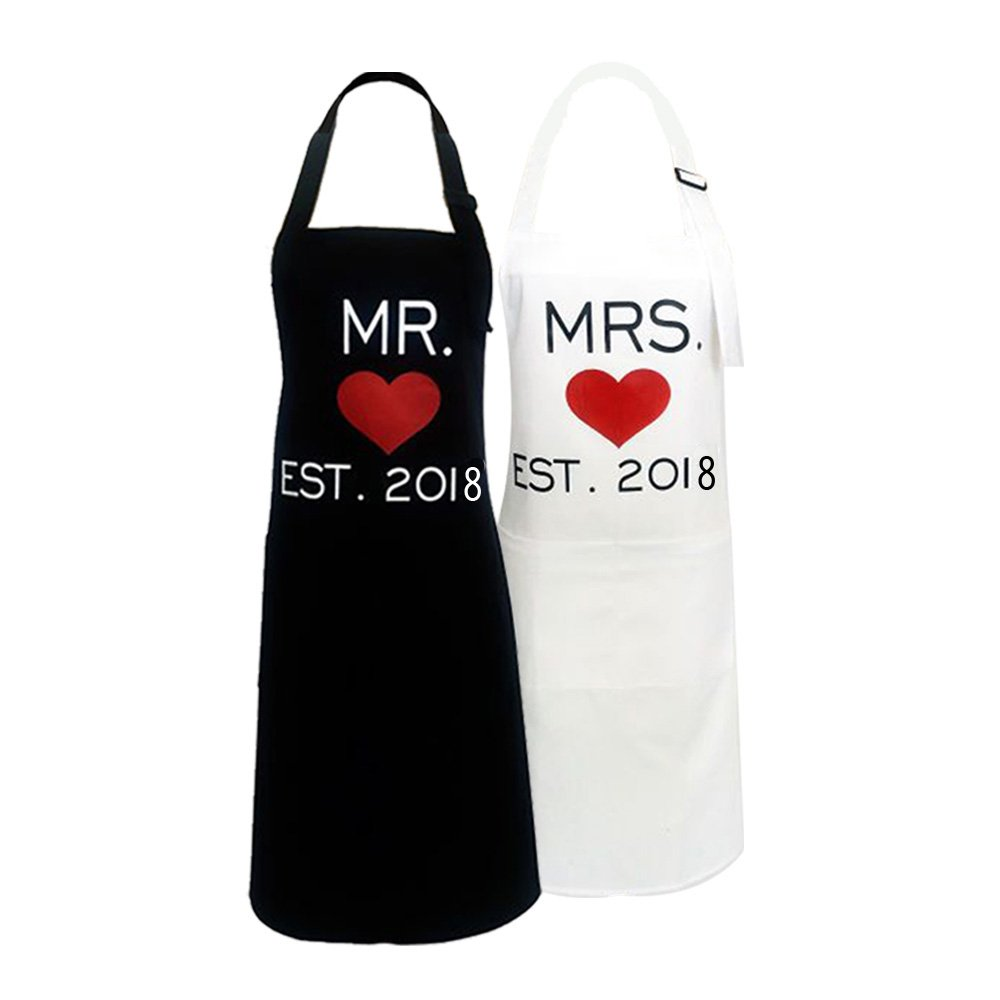 KMCH Mr. and Mrs.2018 Couples Kitchen Aprons Funny Cooking Bibs Gifts For Wedding Newlyweds His and Hers Sets (2 Pieces a Set) by KMCH