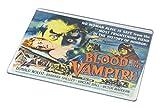 Rikki Knight RK-LGCB-3702 Vintage Movie Posters Art Blood of Vampire 2 Glass Cutting Board, Large, White
