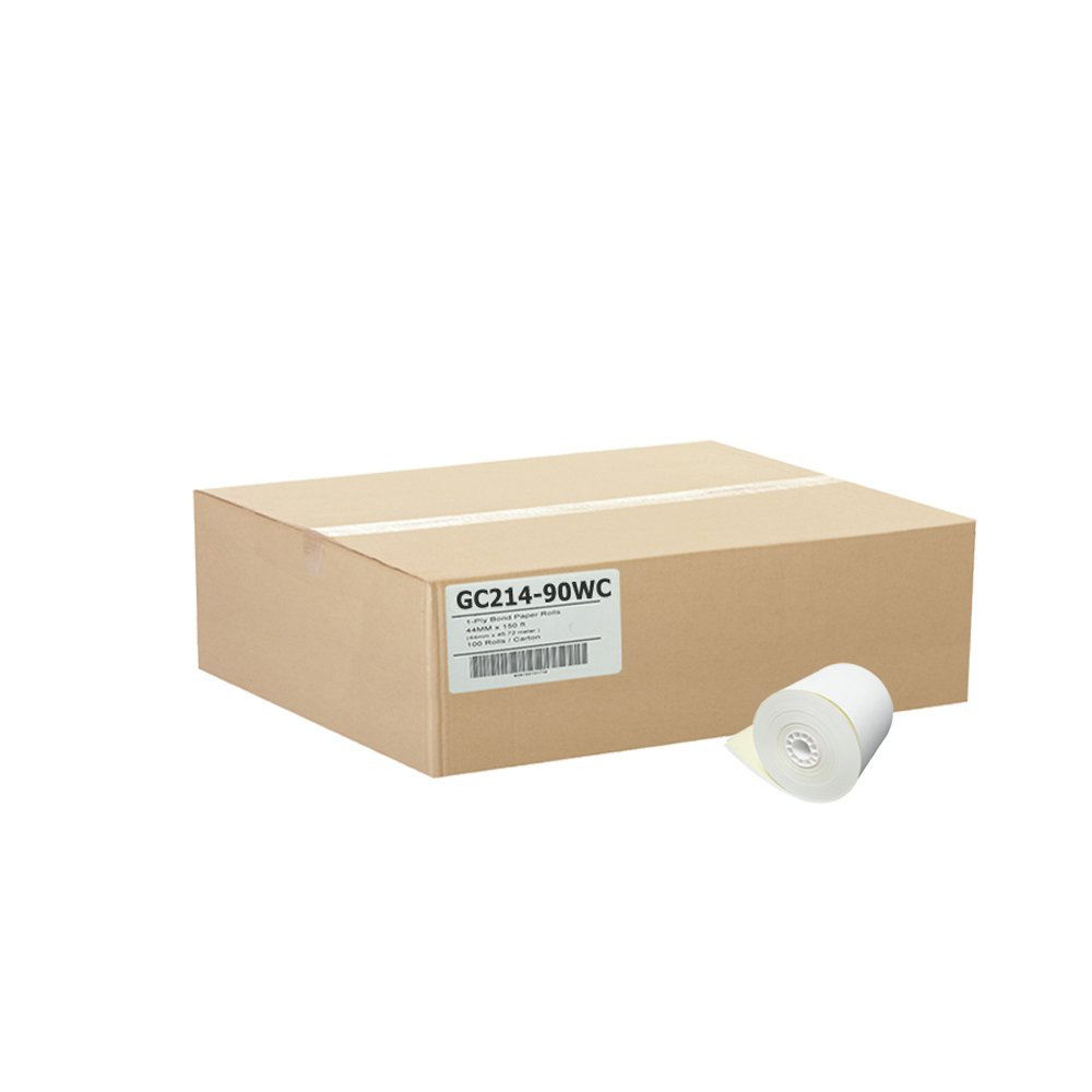Gorilla Supply 2-1/4 x 90' 2-Ply Carbonless Paper 50 Rolls White/Canary Verifone Tranz 420/460 and Hypercom T7P