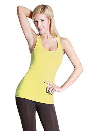 f9c7946d86a676 Nikibiki Ribbed Racer Back Tank Top Banana Yellow at Amazon Women s ...