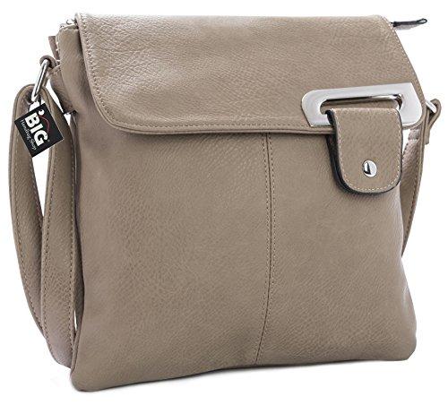 Big Handbag Shop - Bolso bandolera para mujer, tipo messenger, cruzado, tamaño mediano Topo