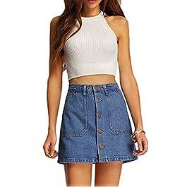 Women's Blue High Waist Button Denim Mini Skirt