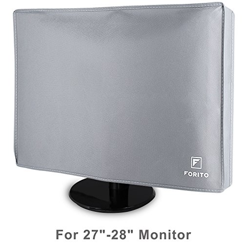 "FORITO Monitor Dust Cover Silky Smooth Nonwoven Monitor Dust Cover for 27"" 28"" LED LCD Screens Flat Panel HD Display Size 28W x 18H x 4D - Gray (Monitor Screen Desktop Flat)"