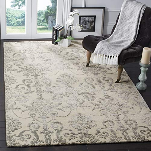 Safavieh Bella Collection BEL917A Ivory and Grey Premium Wool Viscose Square Area Rug 5 Square