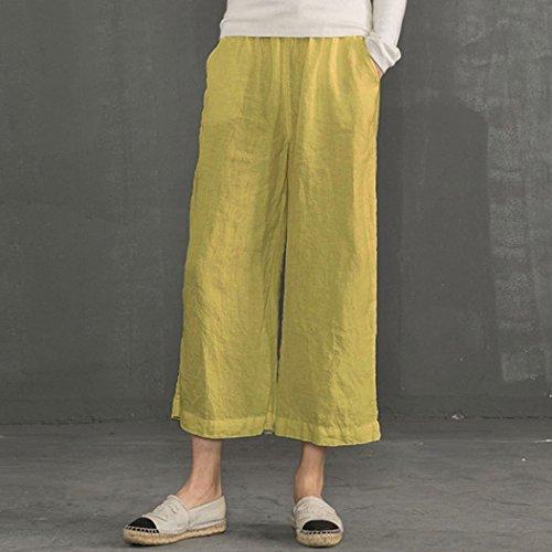 Sarouel Palazzo Yoga Taille Fluides Elastiqué Femmes Et Confortable Minetom Lin 4 Coton Pantalon Large Moutarde Jambes Grande À Longue Pour 3 Pants HRHSBqpw