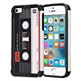 Capsule Case Compatible with iPhone 5, iPhone 5S, iPhone SE [Hybrid Dual Layer Slim Defender Armor Combat Case Black White] - (Cassette Tape)