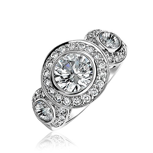 Art Deco Style 925 Sterling Silver Past Present Future Cubic Zirconia AAA CZ 3 Stone Halo Circlet Engagement Ring Bezel 3 Large Stone Ring