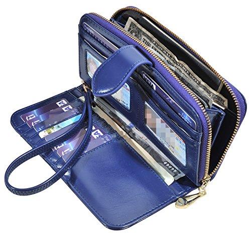 RFID Blocking Womens Ladies Wallet Leather Long Zip Clutch Purse Card Holder (Darkblue)