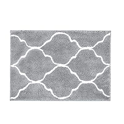 """HEBE Bathroom Rug Microfiber Bath Rugs for Bathroom Non Slip Absorbent Bath Mats Floor Carpet Machine Washable Geometric Grey 18""""x26"""" - Extra Absorbent Bath Mats-- Microfiber accent rug absorbs water and dries quickly; the quick-dry fibers keep this rug looking and feeling great, even with repeated use; Anti-slip Backing--The durable non-slip backing provides long-lasting performance, and it reliably grips the floor keeping the rugs in place, even when wet; Rugs provide a secure place to stand when getting in and out of the shower or tub; Great for kids, teens, adults and seniors. Easy Care -- Bathroom Floor Mats can be Machine Washed for easy hassle-free home care; Machine wash separately in cold water; Use mild soap or detergent: Do not bleach or dry clean - bathroom-linens, bathroom, bath-mats - 51LAy8rFO9L. SS400  -"""