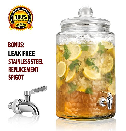 Durable Hammered Glass Large Beverage Dispenser - 3 Gallon Drink Jug - Stainless Steel Leak Free Spigot Included - Home Bar & Party Serveware