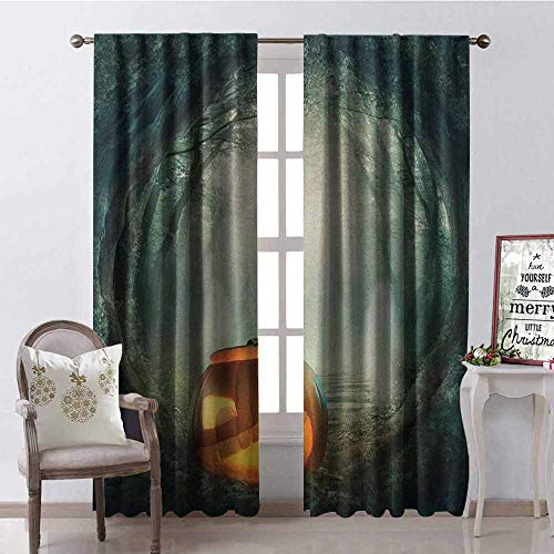 Gloria Johnson Halloween Blackout Curtain Drawing of Scary Halloween Pumpkin Enchanted Forest Mystic Twilight Party Art 2 Panel Sets W52 x L54 Inch Orange -