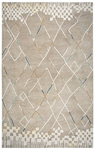 Rizzy Home Marianna Fields Collection Wool Natural/Gray/Blue/Teal/Orange Blocks,Lines Area Rug 8' x 10' Block Tufted Wool Area Rug