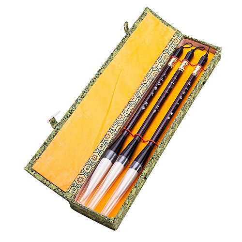 Chinese Calligraphy Japanese Sumi Drawing Brush Hu Pen Yang Hao (Goat Hair) 3 Pcs Gift Set by THY COLLECTIBLES