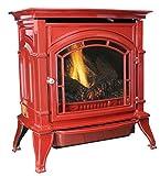 Ashley AGC500VFRN Vent-Free Red Enameled Porcelain Cast Iron Stove, 31000 BTU